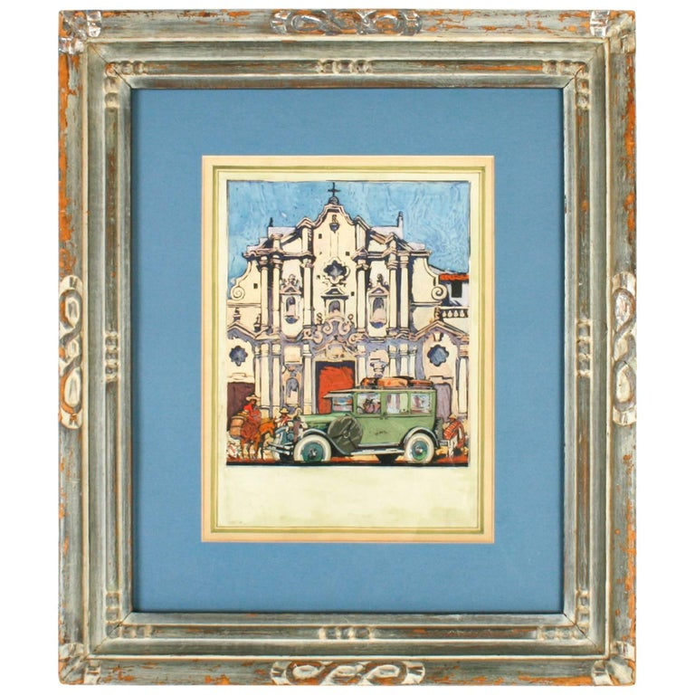 Gouache Painting of a Cuban Cathedral, Early 20th C, From Ford Times Collection For Sale