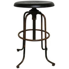 Vintage Steel line Industrial Adjustable Stool
