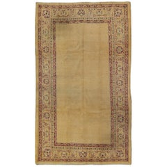Antique Indian Amritsar Rug with Open Field and Ornate, Rich Red Border