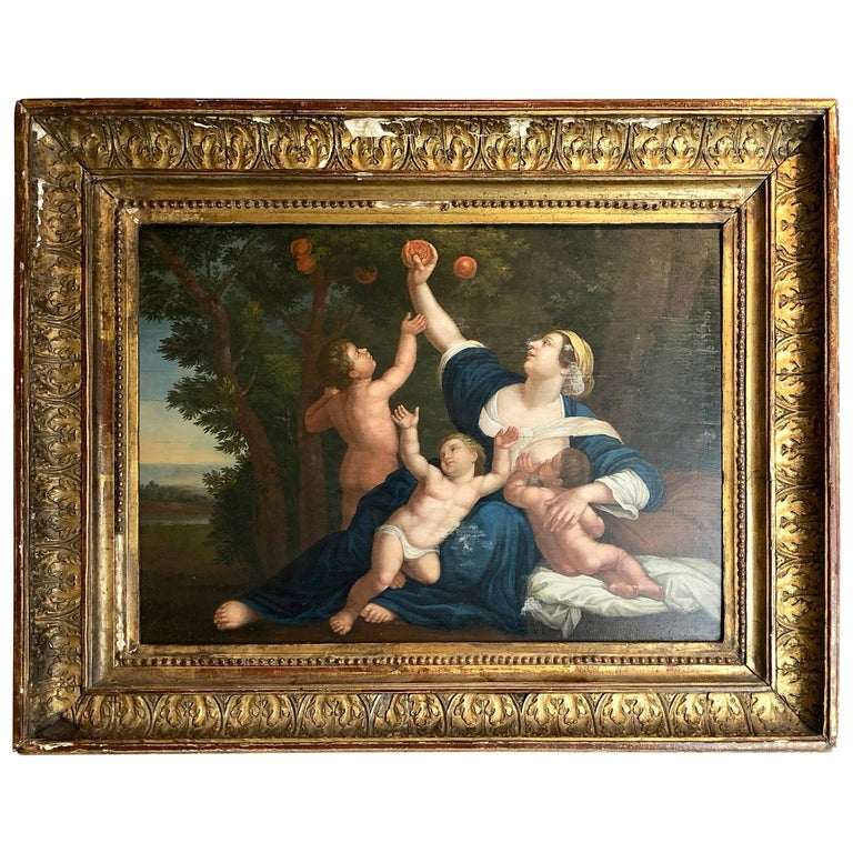 18th Century Painting of Cupids Fruit Picking, Oil on Panel