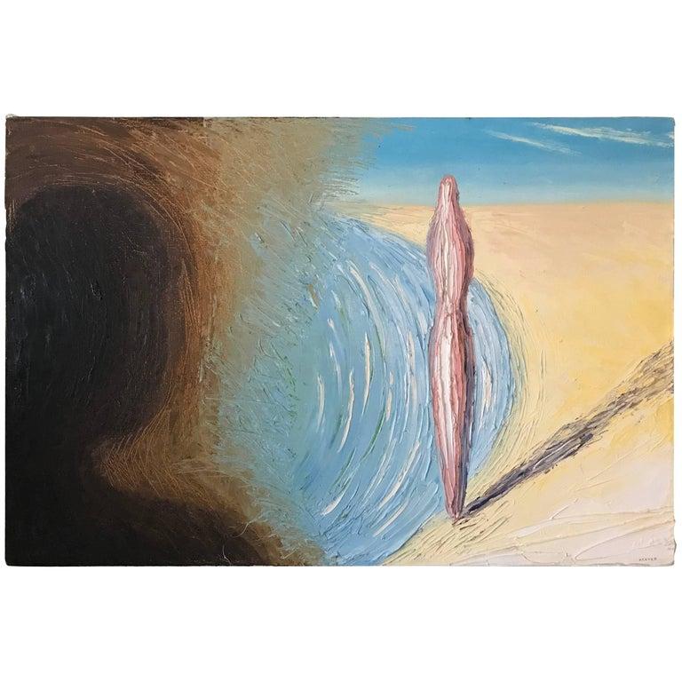 1980s East Village Art Scene Oil on Canvas, Signed Kim Keever, 1985