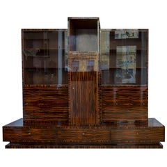 Functionalist Library Cabinet in macassar by Vlastimil Brozek, 1930s
