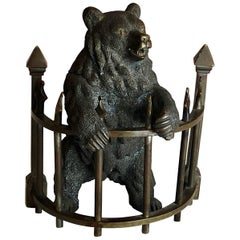 Russian Bear Bronze Inkwell