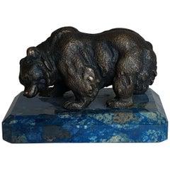 Russian Bronze Bear on Lapis Lazuli Base