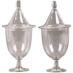 Pair of Antique English Regency Style Glass Urns with Lids, circa 1875