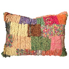 Custom Pillow Cut from a Vintage Moroccan Hand-Loomed Bouchouite Berber Rug