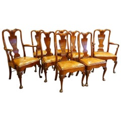 Set of Eight Mahogany Victorian Dining Chairs in the Georgian Style