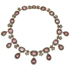 Early 19th Century French Pink Topaze and Diamond Necklace