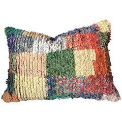 Custom Pillow Cut from a Hand-Loomed Moroccan Boucherouite Berber Rug