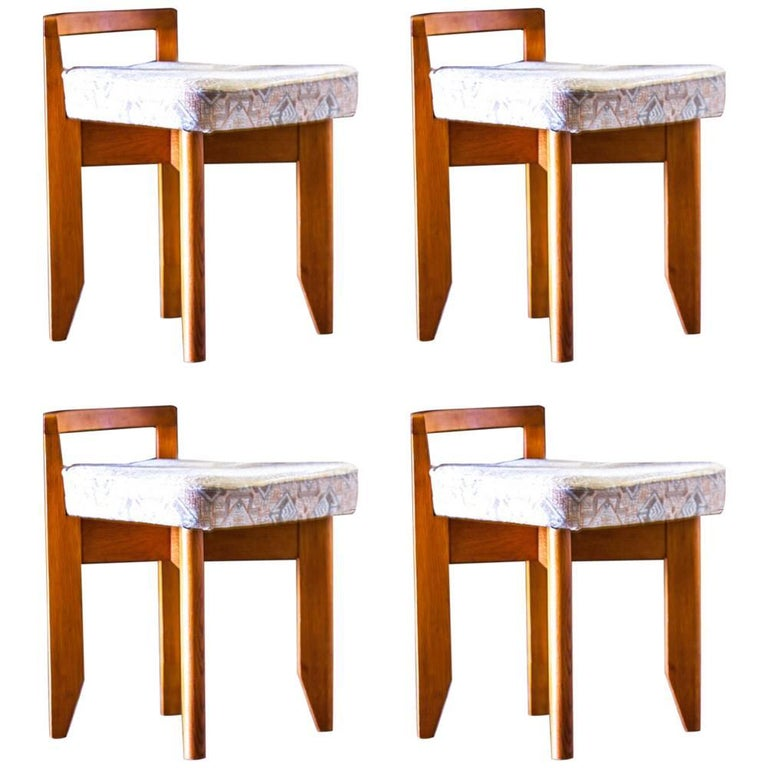 Set of Four Stools by Guillerme and Chambron, France, circa 1965