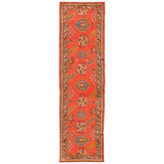 Bright Red Antique Turkish Oushak Runner with Sub-Geometric Tribal Motifs