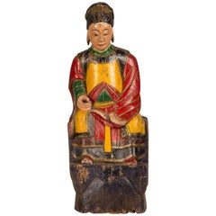 Large Antique Chinese Hand-Carved and Painted Female Temple Figure, circa 1865