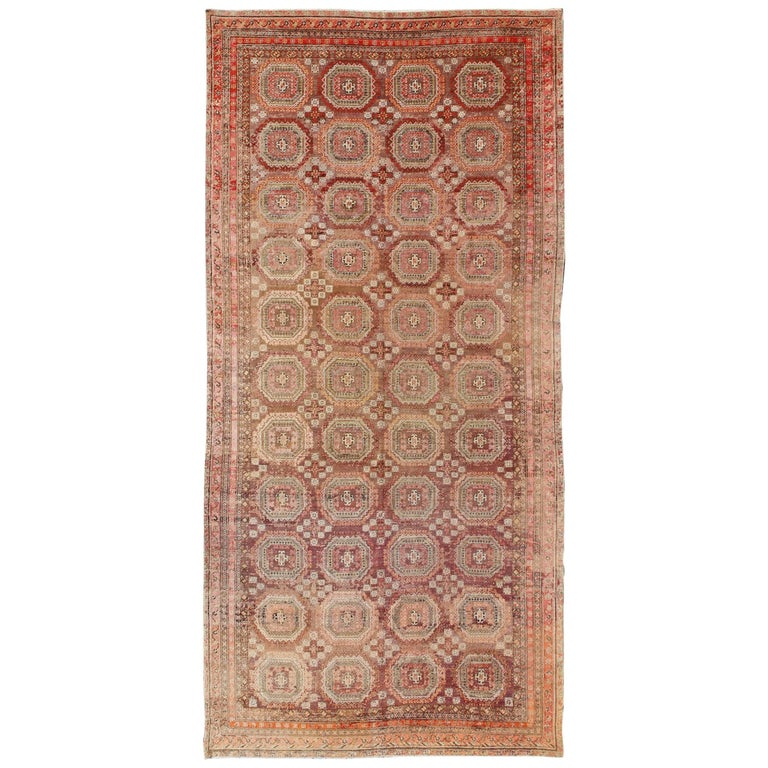 Antique Large Rug: Extremely Large Antique Tekke Rug With Red Field And