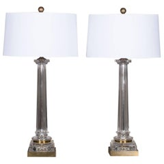 Pair of Vintage French Brass Glass Column Lamps, circa 1940