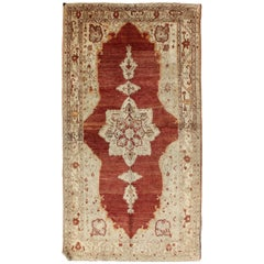 Antique Turkish Oushak Rug with Stretched Medallion in Red, Ivory, Cream, Gray