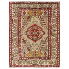 Sub-Geometric Vintage Turkish Oushak Rug in Red, Gold , Green and Cream