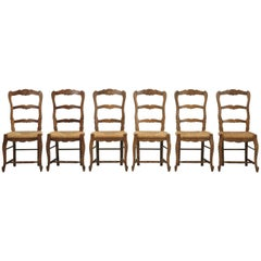 Country French Ladderback Dining Chairs with Rush Seats, Set of Six