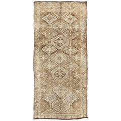 Cream and Tan Brown Vintage Turkish Oushak Runner with All-Over Diamond Design
