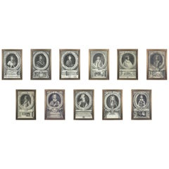 Set of 11 Framed Engravings of Illustrious Persons of Great Britain, circa 1750