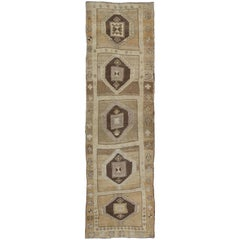 Shades of Brown Vintage Turkish Oushak Runner with Diamond Medallion Design