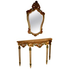 Carved and Painted French Louis Style Console or Hall Table with Matching Mirror