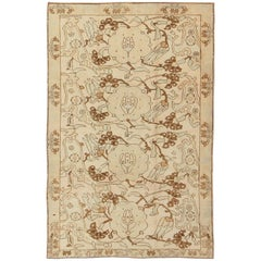 All-Over Entwined Blossoms Vintage Turkish Oushak Rug in Brown, Taupe, Cream