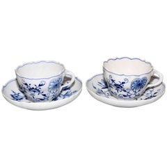 Meissen Porcelain Blue Onion Cups and Saucers, Set of Two
