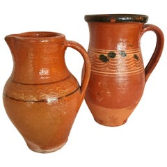 Transylvania Vintage Pottery Pitchers, Hand-Painted Redware Folk Art, Romania