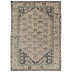 All-Over Blossom Design Vintage Turkish Oushak Rug in Taupe and Greyish Blue