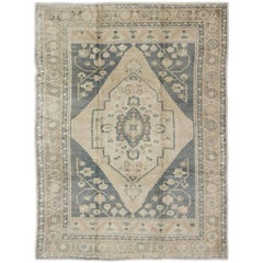 Floral Vintage Turkish Oushak Multi-Layered Medallion Rug in Taupe and Gray-Blue