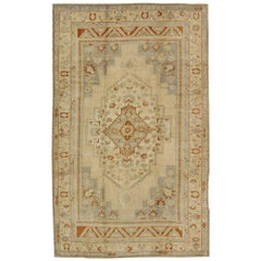 Floral Layered Medallion Vintage Turkish Oushak Rug in Cream, Ivory, Gray, Red