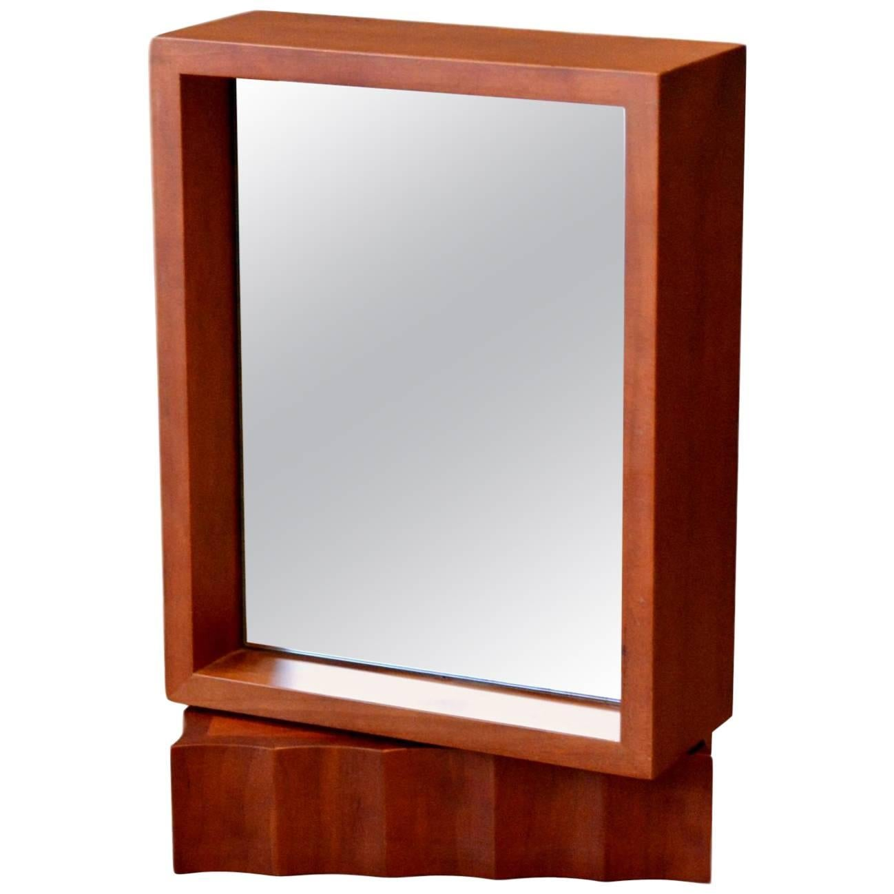 Teak Double-Sided Rotating Mirror