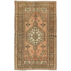 Peach Colored Floral Vintage Turkish Oushak Rug with Multiple Ornate Borders