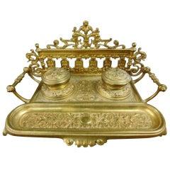 Renaissance Revival Brass Inkwell