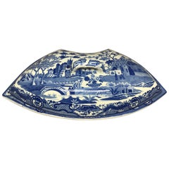 Blue and White Spode Chinoiserie Crescent Covered Dish