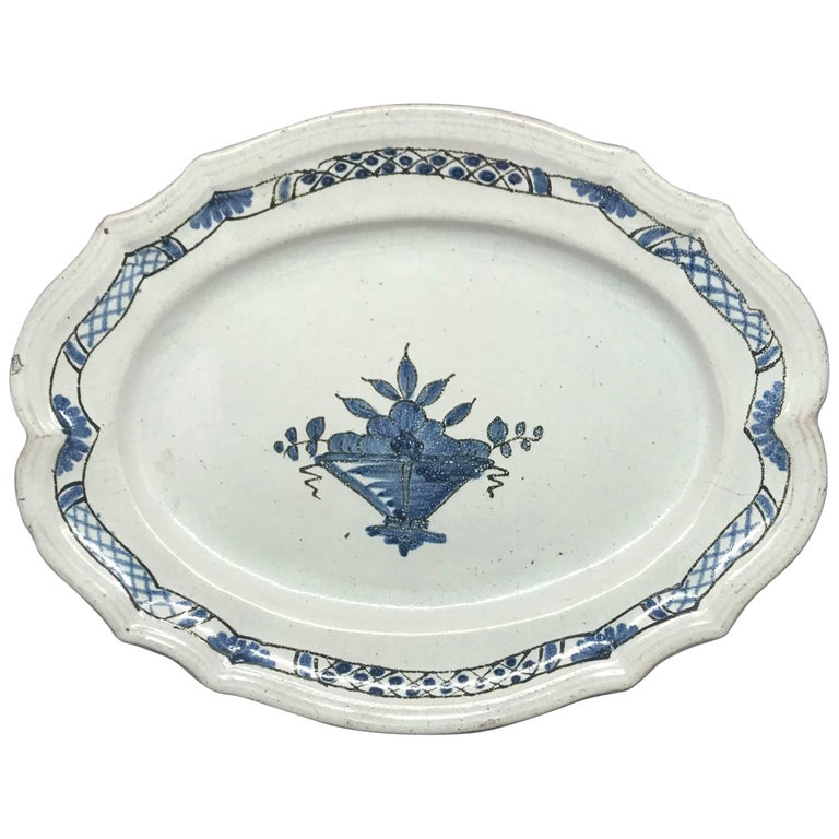 Rouen Blue and White Faience Platter