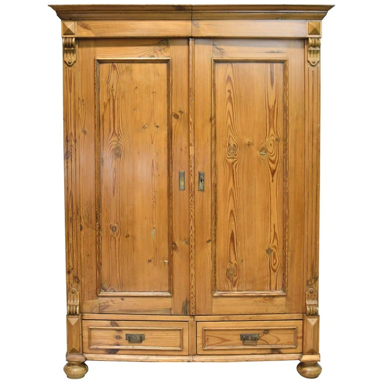 19th Century Two-Door European Armoire in Pine with Two Drawers and Shelves