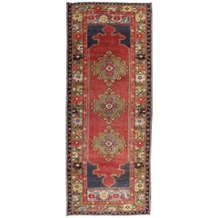 Red, Blue and Khaki Vintage Turkish Oushak Runner with Tri-Medallion Design