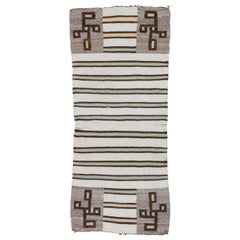Vintage Navajo Carpet, Folk Rug, Handmade Wool, Beige, Green, Brown