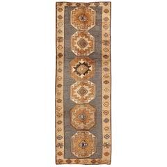 Shades of Brown Vintage Turkish Oushak Runner with Vertical Medallion Design
