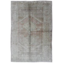 Faded Vintage Turkish Oushak Rug with Central Medallion in Gray and Berry