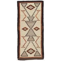 Vintage Navajo Carpet, Folk Rug, Handmade Wool, Beige, Terracotta, Tan