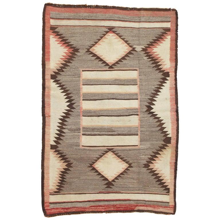 Antique Navajo Carpet, Folk Rug, Handmade Wool, Beige, Pink, Gray, Tan