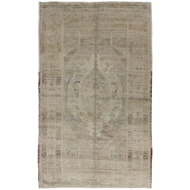Faded Vintage Turkish Oushak Rug with Medallion in Taupe, Nude, Gray and Brown