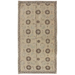 Blossom and Tribal Design Vintage Turkish Oushak Rug in Nude, Taupe, Gray, Brown