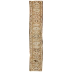 Long Vintage Turkish Runner with Taupe, Cream, Brown Stacked Medallions