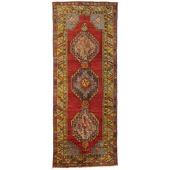 Vintage Turkish Oushak Runner with Modern Tribal Style, Wide Hallway Runner