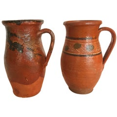 Vintage Transylvania Redware Pottery Pitchers, Hand-Painted, Folk Art
