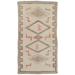 Antique Navajo Carpet, Folk Rug, Handmade Wool, Beige, Gray, Neutral