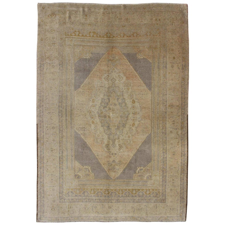 Vintage Turkish Oushak Rug with Layered Medallion in Apricot, Gray, Tan Colors